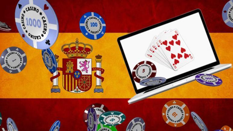 Bandera de España, ordenador, chips